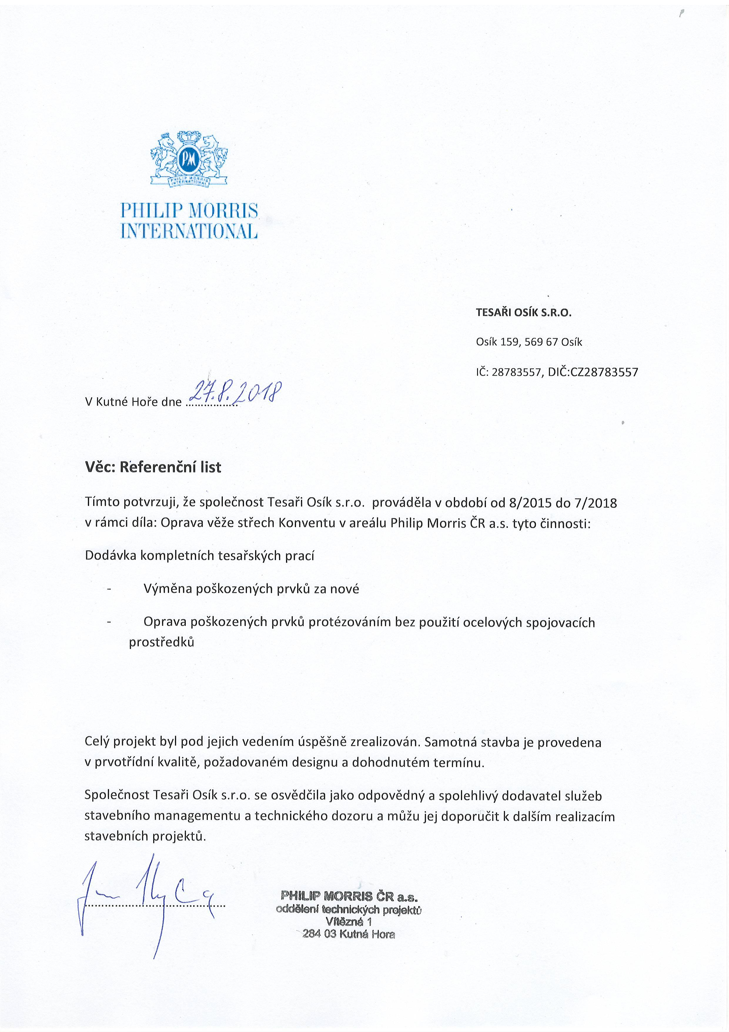 referenční list